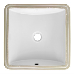 American Standard 0426.000.020 Studio™ Carre Bathroom Sink, Square, 16 in W x 16 in D x 6-3/4 in H, Undercounter Mount, Vitreous China, White, Import