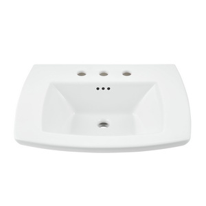American Standard 0445008.020 Edgemere® Pedestal Lavatory Sink Top, 19-1/2 in L x 25 in W x 5-1/2 in H, 8 in Faucet Hole Spacing, Import