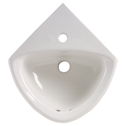 American Standard 0451.001.020 Corner Minette™ Bathroom Sink With Front Overflow, Oval, 11 in W x 16-3/4 in D x 7 in H, Wall Mount, Vitreous China, White, Import