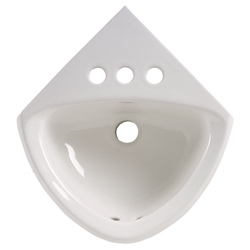 American Standard 0451.021.020 Minette™ Corner Bathroom Sink With Front Overflow, Oval, 4 in Faucet Hole, 11 in W x 16-3/4 in D x 7 in H, Wall Mount, Vitreous China, White, Import