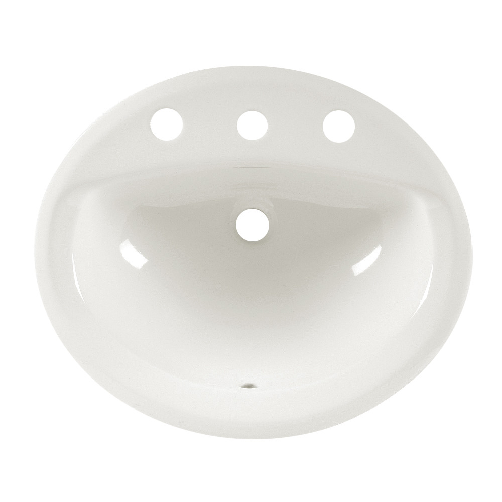 American Standard 0475.020.020 Aqualyn® Self-Rimming Bathroom Sink With Front Overflow, Oval, 8 in Faucet Hole Spacing, 20-3/8 in W x 17-3/8 in D x 7 in H, Countertop/Drop-In Mount, Vitreous China, White, Import