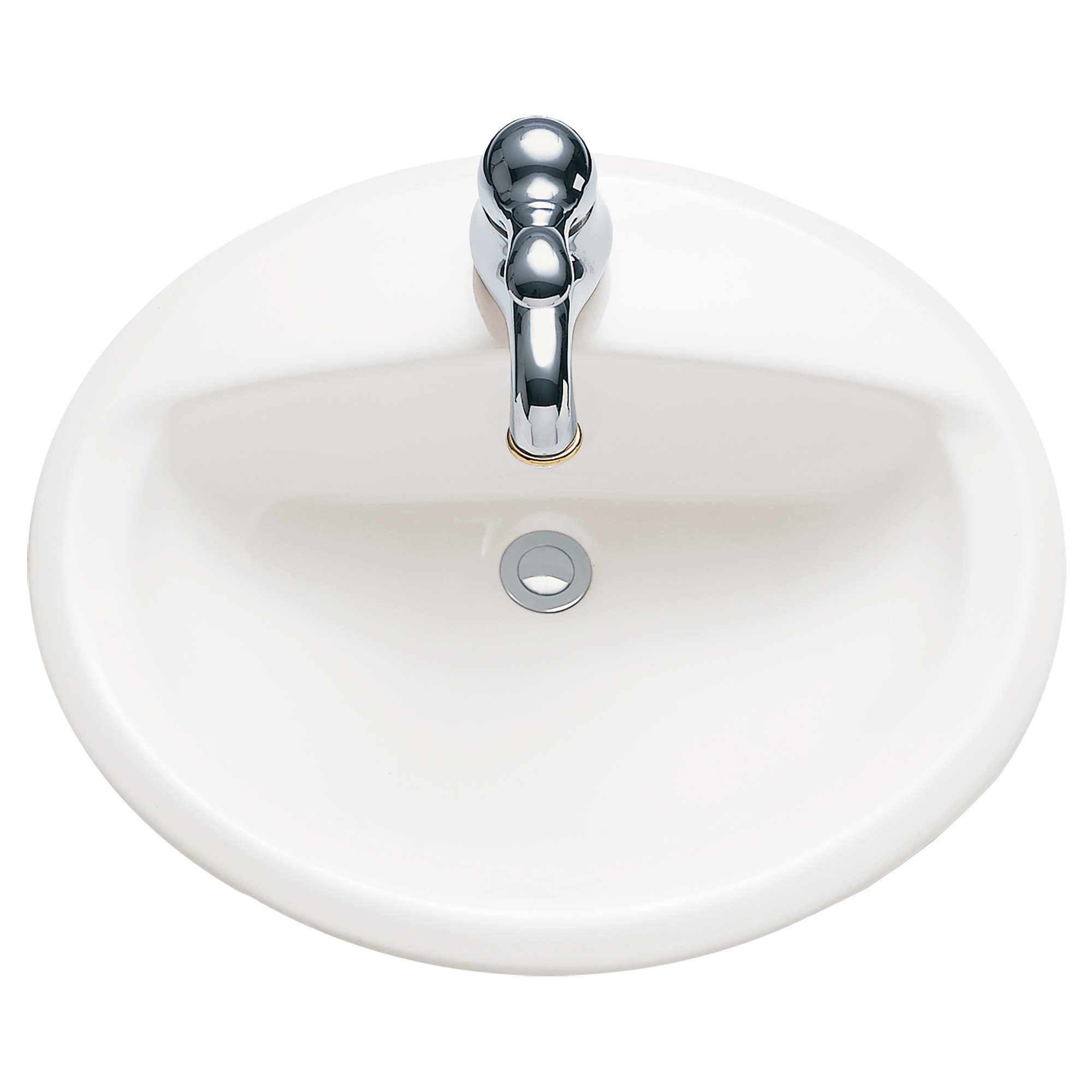 American Standard 0475.047.020 Aqualyn® Self-Rimming Bathroom Sink With Front Overflow, Oval, 20-3/8 in W x 17-3/8 in D x 7 in H, Countertop/Drop-In Mount, Vitreous China, White, Import