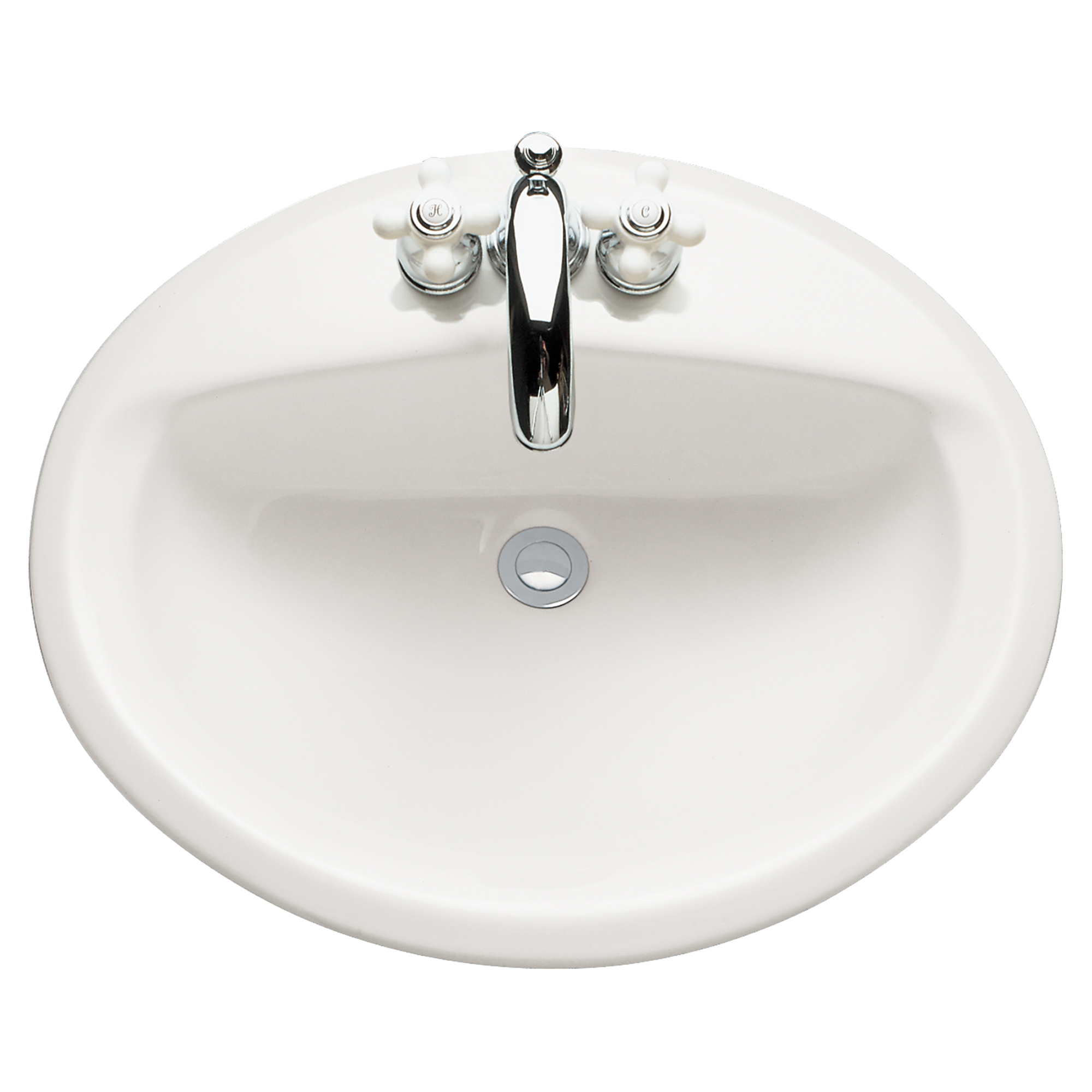 American Standard 0476.028.020 Aqualyn® Self-Rimming Bathroom Sink With Front Overflow, Oval, 4 in Faucet Hole Spacing, 20-3/8 in W x 17-3/8 in D x 7 in H, Countertop/Drop-In Mount, Vitreous China, White, Domestic