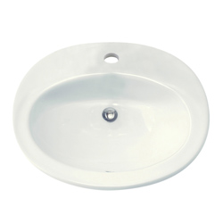 American Standard 0478.001.020 Piazza™ Self-Rimming Bathroom Sink With Front Overflow, Oval, 23-1/2 in W x 18-3/8 in D x 7-3/4 in H, Countertop Mount, Vitreous China, White, Import