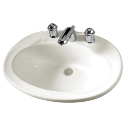 American Standard 0478.803.020 Piazza™ Self-Rimming Bathroom Sink With Front Overflow, Oval, 8 in Faucet Hole Spacing, 23-1/2 in W x 18-3/8 in D x 7-3/4 in H, Countertop Mount, Vitreous China, White, Import