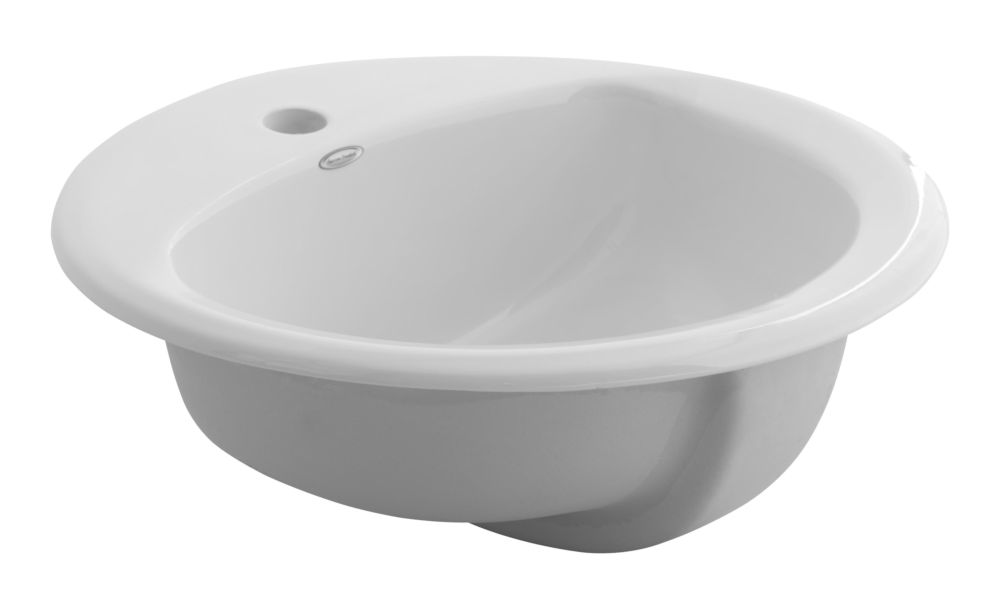 American Standard 0490.156.020 Rondalyn™ Self-Rimming Bathroom Sink With Front Overflow, Round, 19-1/8 in W x 7-3/8 in H, Countertop Mount, Vitreous China, White, Import