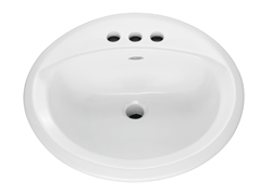 American Standard 0491.019.020 Rondalyn™ Self-Rimming Bathroom Sink With Front Overflow, Round, 4 in Faucet Hole Spacing, 19-1/8 in W x 7-3/8 in H, Countertop Mount, Vitreous China, White, Domestic