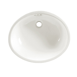 American Standard 0497.221.020 Ovalyn™ Bathroom Sink With Front Overflow, Classic Oval, 21-1/2 in W x 17-3/8 in D x 7-1/2 in H, Undercounter Mount, Vitreous China, White, Import