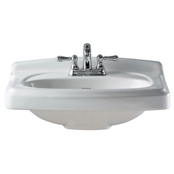 American Standard 0555.104.020 Portsmouth® Bathroom Sink Top With Front Overflow, 4 in Faucet Hole Spacing, 24-3/8 in W x 19-1/2 in D x 35-7/16 in H, Pedestal Mount, Vitreous China, White, Import