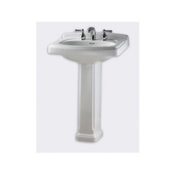 American Standard 0555.108.020 Portsmouth® Bathroom Sink Top With Front Overflow, 8 in Faucet Hole Spacing, 24-3/8 in W x 19-1/2 in D x 35-7/16 in H, Pedestal Mount, Vitreous China, White, Import