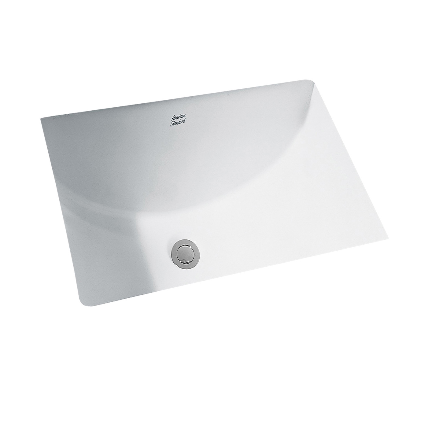 American Standard 0618.000.020 Studio™ Bathroom Sink With Front Overflow, Rectangular, 21-1/4 in W x 8-1/4 in D x 15-1/4 in H, Undercounter Mount, Vitreous China, White, Import