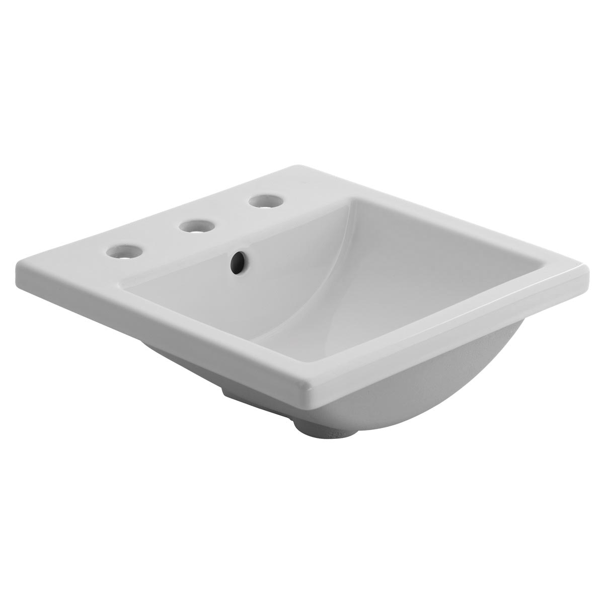 American Standard 0642.001.020 Studio™ Carre Bathroom Sink With Rear Overflow, Rectangular, 16-1/4 in W x 16-1/4 in D x 6-3/4 in H, Countertop Mount, Vitreous China, White, Import