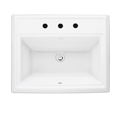 American Standard 0700.008.020 Town Square® Self-Rimming Bathroom Sink With Front Overflow, Rectangular, 8 in Faucet Hole Spacing, 23-1/8 in W x 18-3/4 in D x 8-1/8 in H, Countertop Mount, Fireclay, White, Import