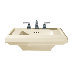 American Standard 0780.008.222 Town Square® Pedestal Sink Top, 27 in L x 21-1/4 in W x 8 in H, Square Sink, 8 in Faucet Hole Spacing, Import
