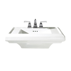 American Standard 0790.004.020 Town Square® Pedestal Sink Top, 24 in L x 20-1/4 in W x 7-1/2 in H, Square Sink, 4 in Faucet Hole Spacing, Import