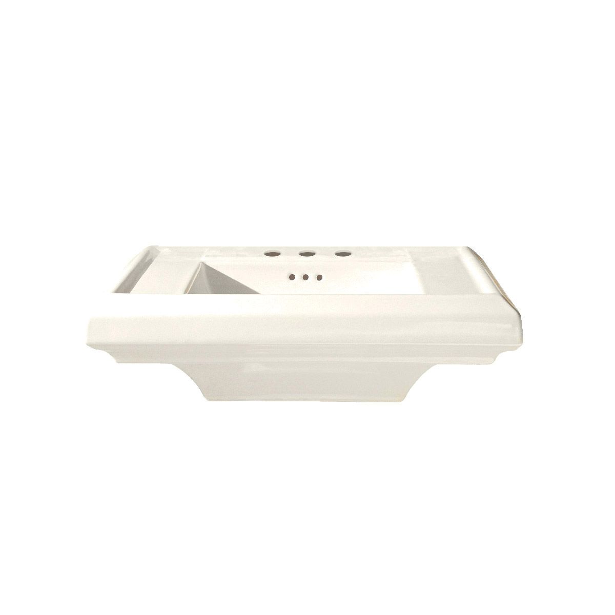 American Standard 0790.004.222 Town Square® Pedestal Sink Top, 24 in L x 20-1/4 in W x 7-1/2 in H, Square Sink, 4 in Faucet Hole Spacing, Import