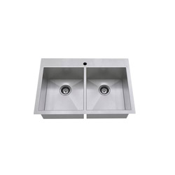 American Standard 18DB.9332211.075 Edgewater™ Kitchen Sink With Bottom Grids, Rectangular, 1 Faucet Hole, 22 in W x 9 in D, Dual Mount, Stainless Steel, Import
