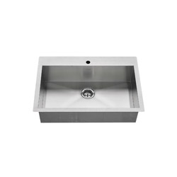 American Standard 18SB.9332211.075 Edgewater™ Kitchen Sink With Bottom Grids, Rectangular, 1 Faucet Hole, 22 in W x 9 in D, Dual Mount, Stainless Steel, Import