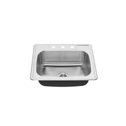 American Standard 22SB.6252283S.075 Colony® Kitchen Sink, Rectangular, 3 Faucet Holes, 22 in W x 6 in D, Top Mount, Stainless Steel, Import