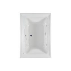 American Standard 2748048WC.020 Town Square® Bathtub, Whirlpool, Rectangular, 59-1/2 in L x 41-5/8 in W, Center Drain, White, Domestic