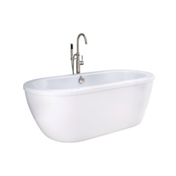 American Standard 2764014M203.011 Cadet® Bathtub, Soaking, Oval, 64-5/8 in L x 30-5/8 in W, Center Drain, Arctic™, Import