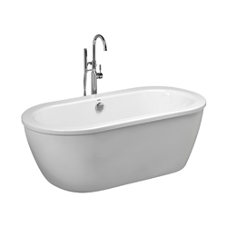 American Standard 2764014M202.011 Cadet® Bathtub, Soaking Hydrotherapy, Oval, 64-5/8 in L x 30-5/8 in W, Center Drain, Arctic™, Import