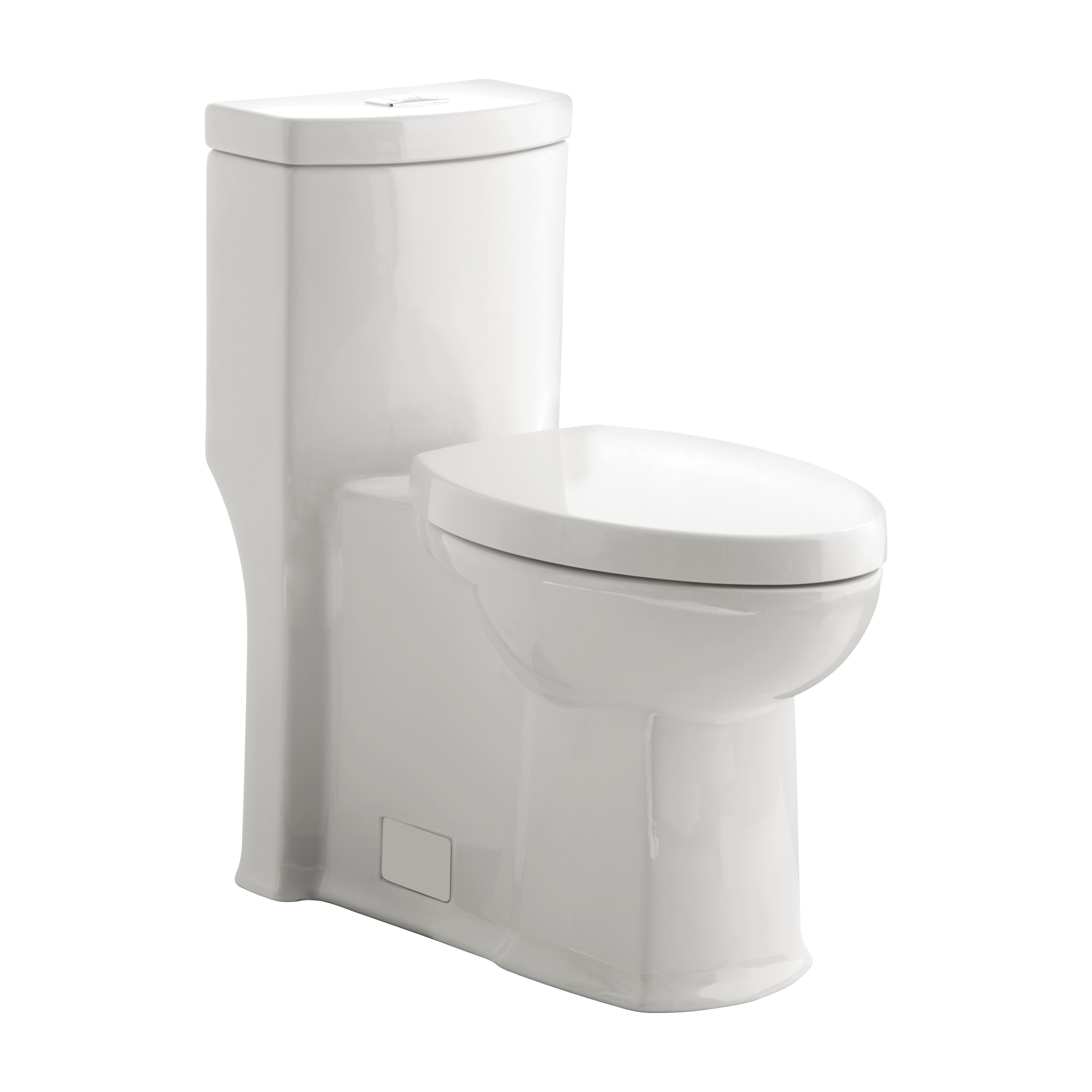 American Standard 2891200.020 Boulevard® Right Height™ 1-Piece Dual Flush Toilet With Seat, Elongated Bowl, 16-1/2 in H Rim, 1.1/1.6 gpf, White, Import