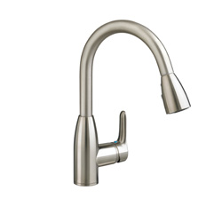 American Standard 4175.300.075 Colony® Soft Single Control Kitchen Faucet With Pull-Down Spray, 2.2 gpm, 1 Faucet Hole, Stainless Steel, 1 Handle, Import
