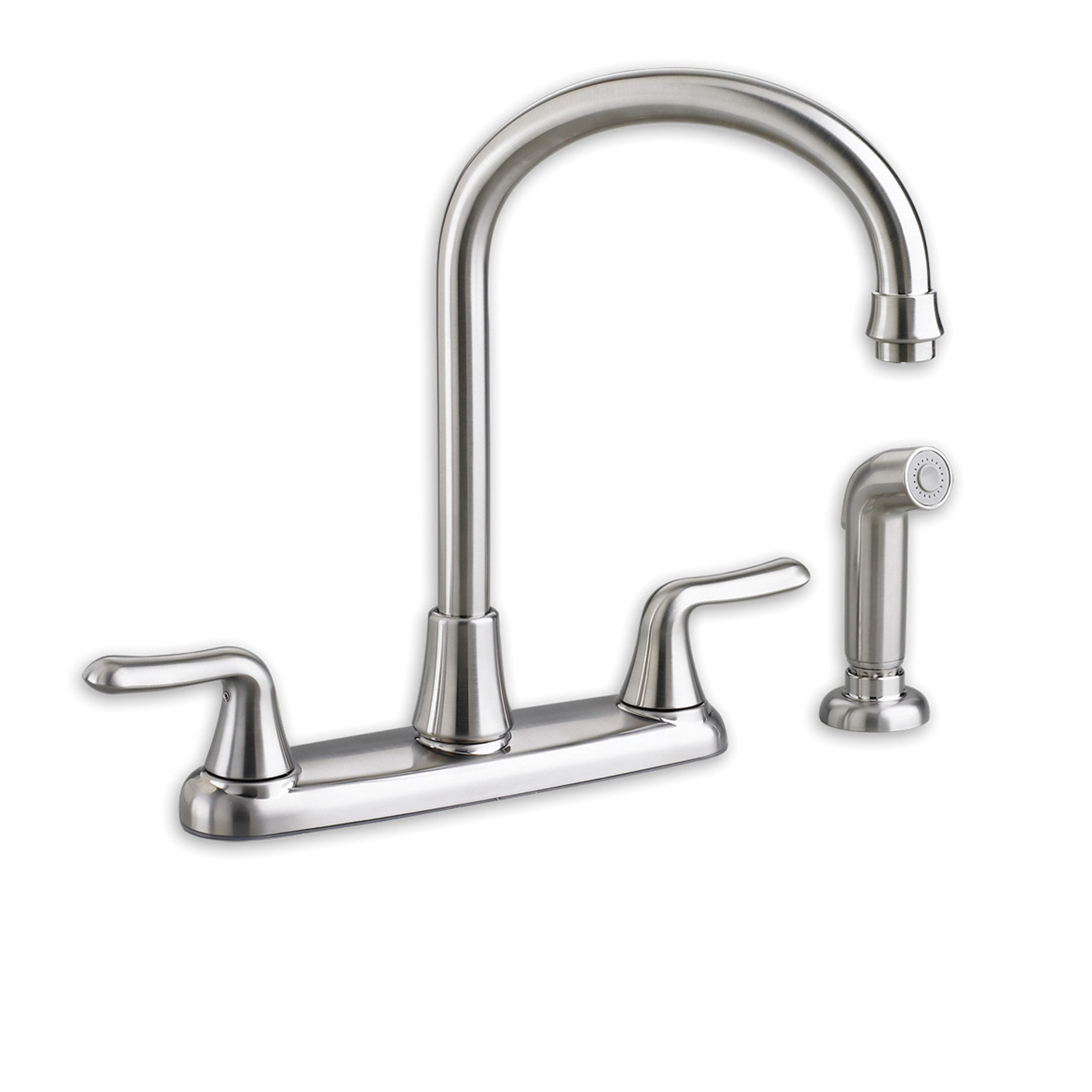 American Standard 4275.551.002 Colony® Soft Kitchen Faucet With Separate Color-Matched Handspray, 2.2 gpm, 4 Faucet Holes, 2 Handles, Polished Chrome, Import
