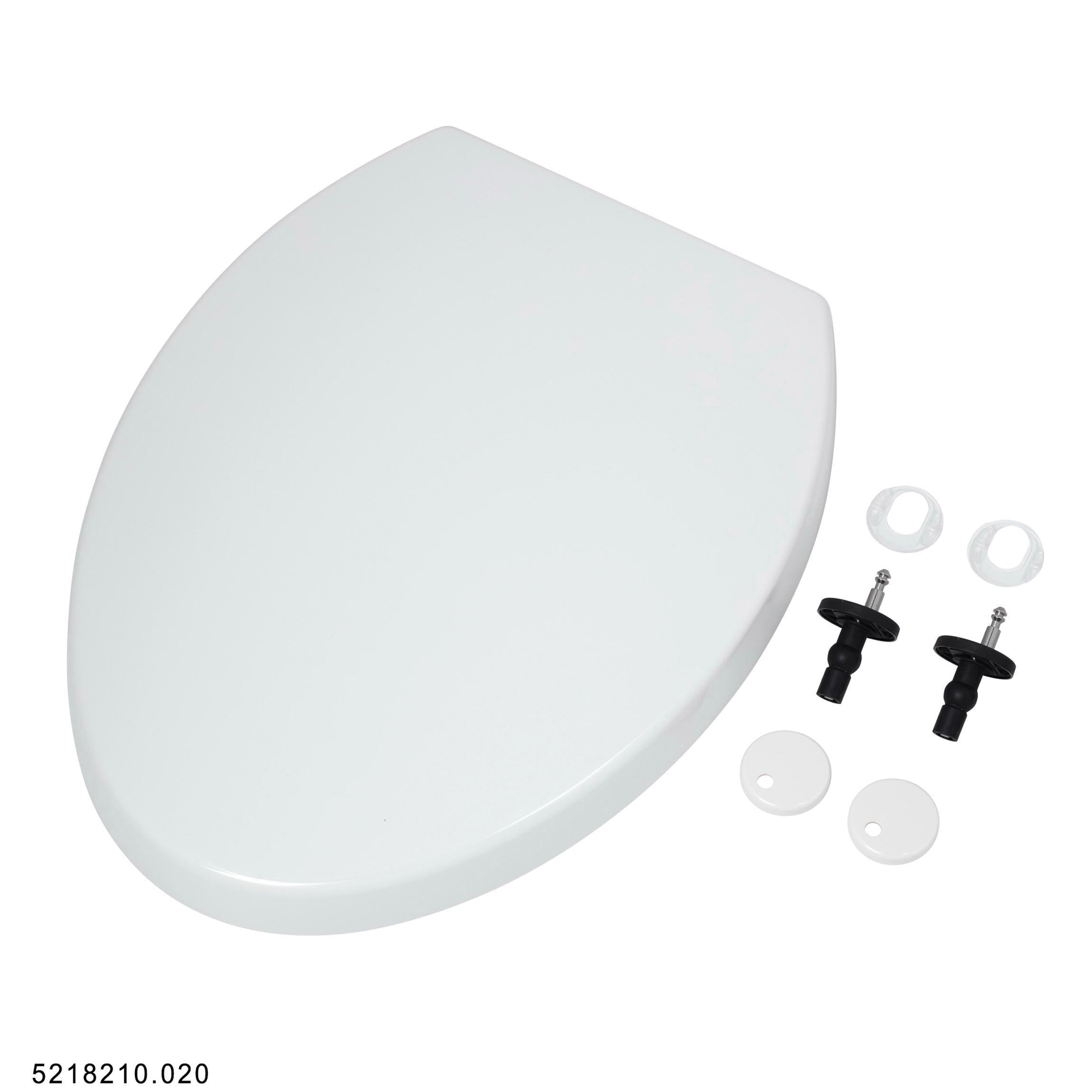 American Standard 5218210.020 Easy Lift-Off Luxury Toilet Seat, Elongated Bowl, Closed Front, Plastic, White, Import