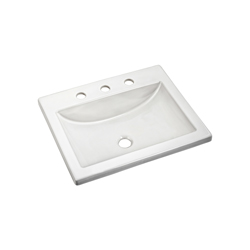 American Standard 0643.008.020 Studio™ Barrier-Free Self-Rimming Bathroom Sink, Rectangular, 8 in Faucet Hole Spacing, 21-1/4 in W x 17-3/4 in D x 6-1/2 in H, Countertop/Drop-In Mount, Vitreous China, White, Import