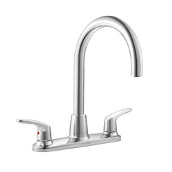 American Standard 7074551.002 Colony® Pro™ Kitchen Faucet, 1.5 gpm, 4 Faucet Holes, 2 Handles, Polished Chrome, Import