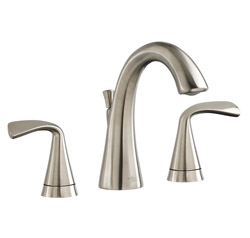 American Standard 7186.801.295 Fluent® Widespread Lavatory Faucet, 1.2 gpm, 4-1/4 in H Spout, 8 in Center, PVD Satin Nickel, 2 Handles, Pop-Up Drain, Import