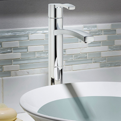 American Standard 7430.152.295 Berwick® Monoblock Single Control Vessel Bathroom Faucet, 1.2 gpm, 9-1/4 in H Spout, 1 Handle, Grid Drain, PVD Satin Nickel, Import