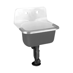 American Standard 7692.008.020 Lakewell™ Service Sink With Drilled Back and Rim Guard, Square, 22 in W x 18 in D x 20-1/4 in H, Wall Mount, Cast Iron, White, Import