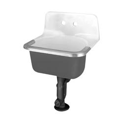 American Standard 7695008.020 Akron™ Service Sink With Drilled Back and Rim Guard, 24 in W x 20-1/2 in D x 20-1/4 in H, Wall Mount, Cast Iron, White, Import