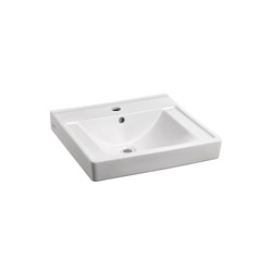 American Standard 9024.001EC.020 Decorum® Barrier-Free Bathroom Sink, Square, 20 in W x 18-1/4 in D, Wall-Hung Mount, Vitreous China, White, Import