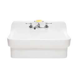 American Standard 9062.008.020 Country Kitchen Sink, Rectangular, 2 Faucet Holes, 22 in W x 8 in D x 30 in H, Wall Mount, Vitreous China, White, Import
