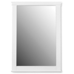 American Standard 9210101.020 Portsmouth® Transitional Wall Mounted Mirror With Poplar Solid Frame, Rectangular, 34-3/8 in L x 25 in W, White, Import