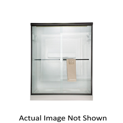 American Standard AM00345400.006 Euro Sliding Shower Door, 44 to 48 in W Opening, Frameless, 1/4 in THK Glass, Brushed Nickel, Domestic