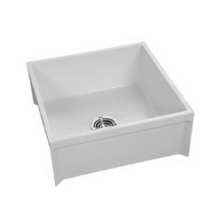 FIAT® Molded-Stone® MSB2424100 1-Piece Mop Service Basin, Square, 24 in W x 10 in D x 24 in H, Stainless Steel, White, Domestic