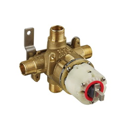 American Standard R121 Pressure Balance Rough-In Valve Body, 1/2 in C/NPT Inlet x 1/2 in C/NPT Outlet, Cast Brass Body, Import