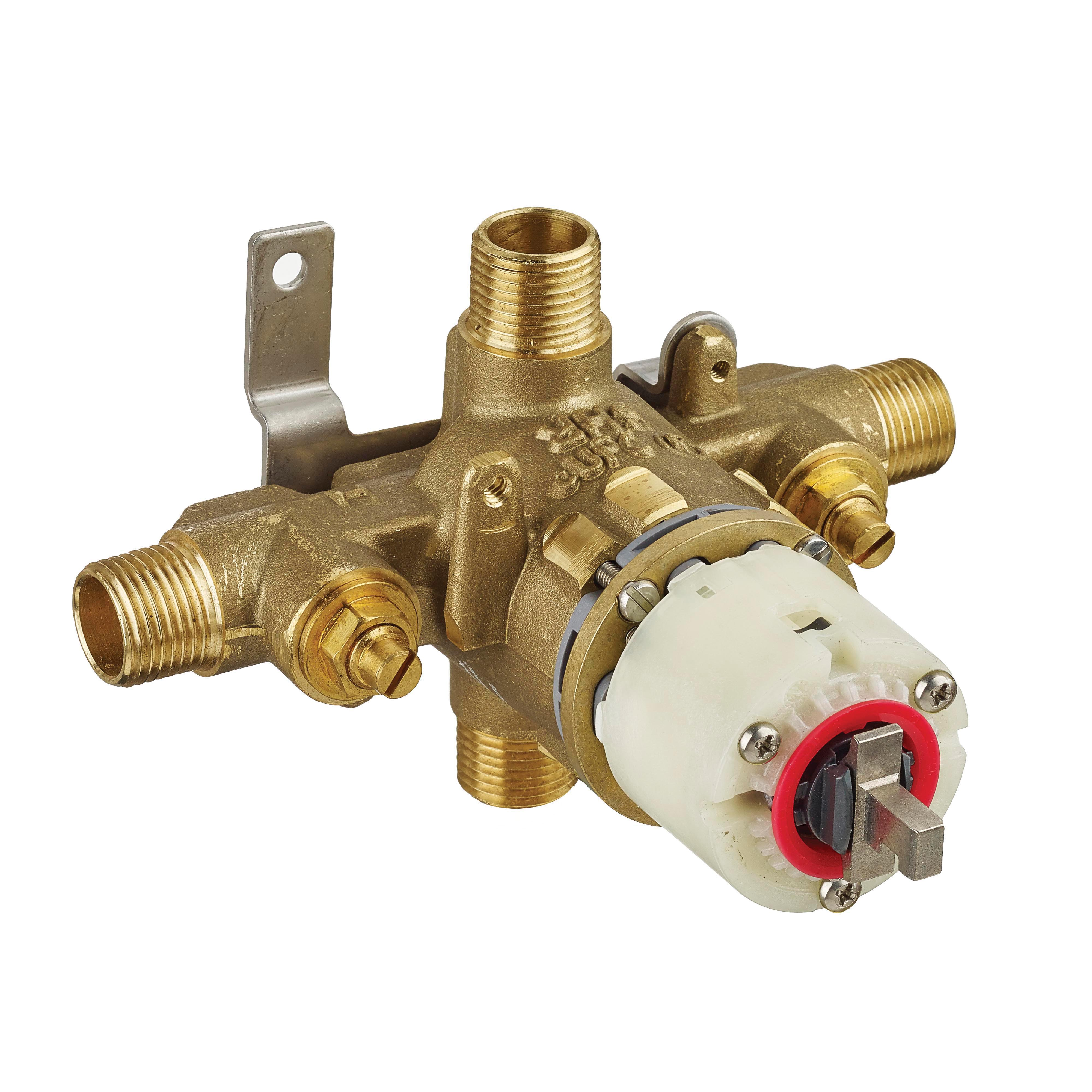 American Standard R121SS Pressure Balance Rough-In Valve Body, 1/2 in C/NPT Inlet x 1/2 in C/NPT Outlet, Cast Brass Body, Import