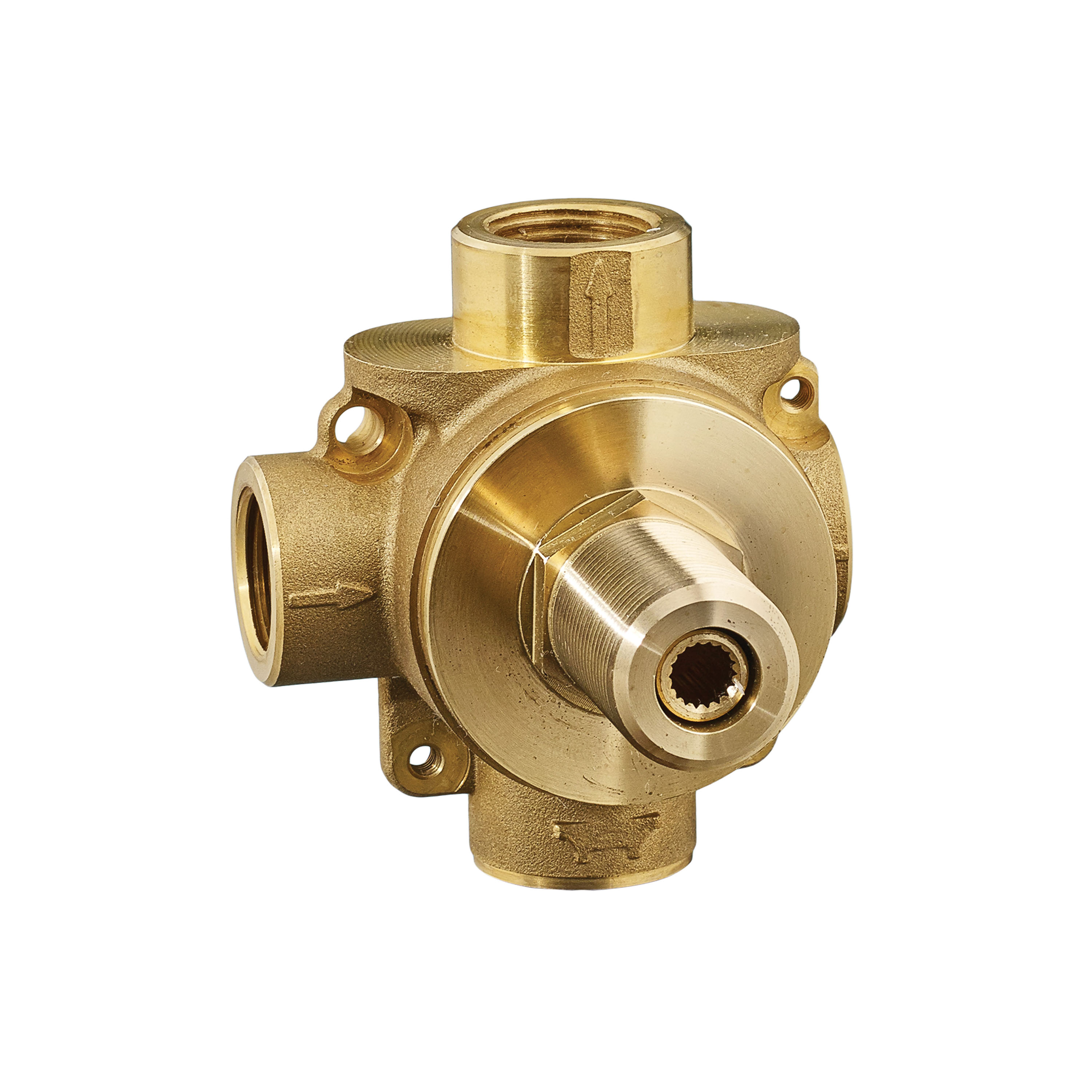 American Standard R422S In-Wall Diverter Rough-In Valve Body, 1/2 in NPT Inlet x 1/2 in NPT Outlet, 2 Ways, Cast Brass Body, Import