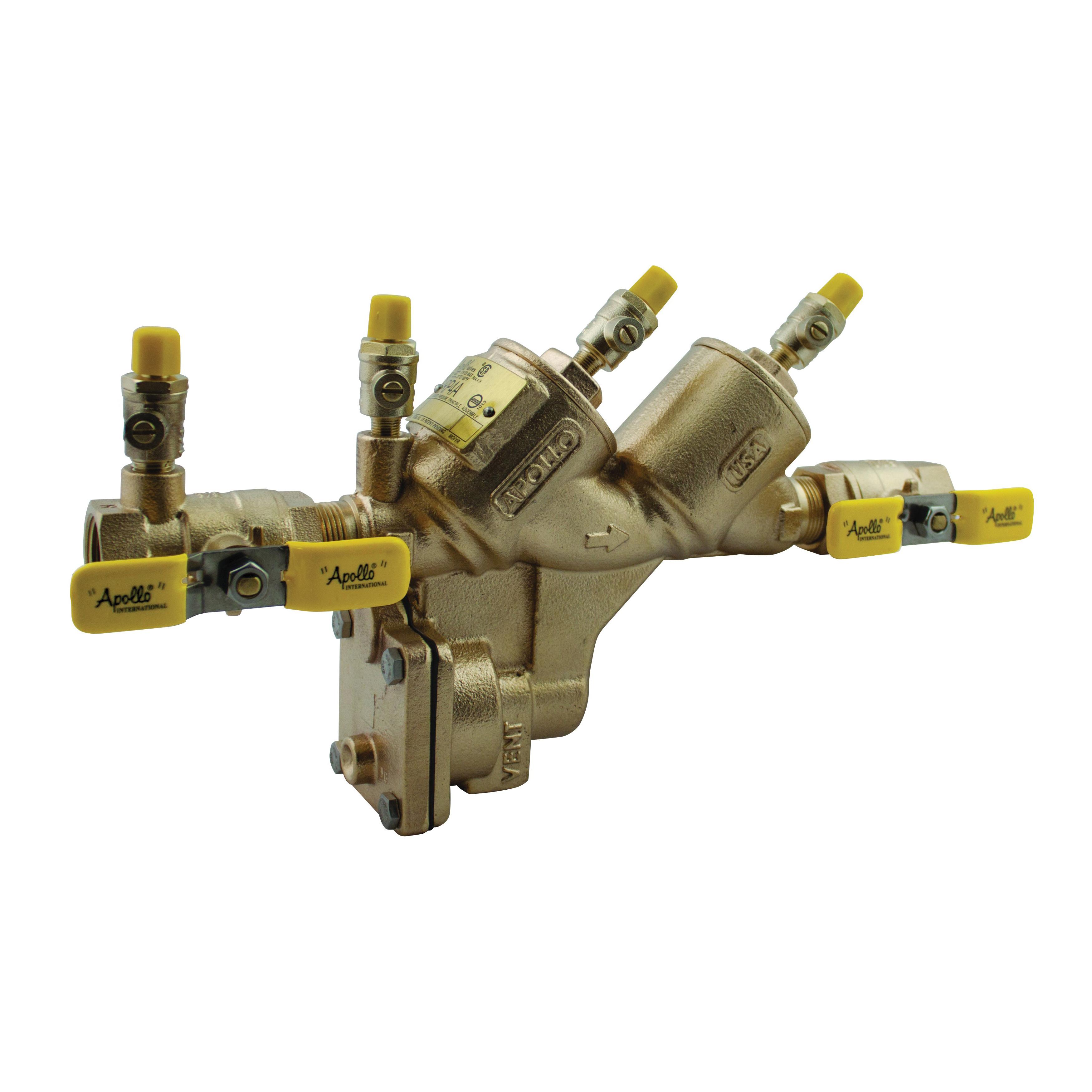 Apollo™ RPLF4A Lead Free Reduced Pressure Principle Backflow Preventer With Ball Valves, 1-1/4 in, Bronze, Domestic