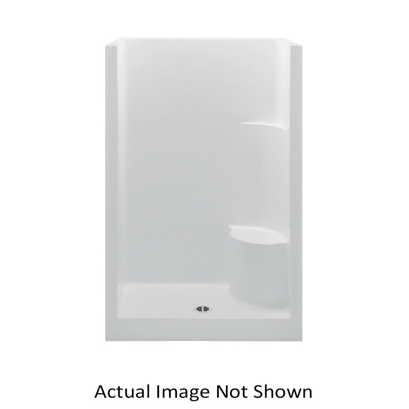 Aquatic 727149747114 1483OSR-WH Everyday 1-Piece Shower Stall With Molded Right Seat, 48 in L x 33-1/2 in W x 72 in H, Gel-Coated/White