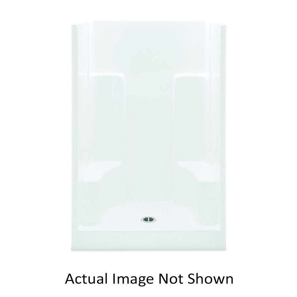 Aquatic 727149748012 1483SG-WH Everyday 1-Piece Shower Stall With (2) Molded Seats, 48 in L x 35 in W x 72 in H, Gel-Coated/White