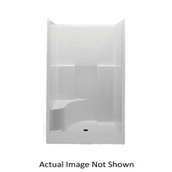Aquatic 727149547011 1483STTL-WH Everyday 1-Piece Shower Stall With Molded Left Seat, 48 in L x 34-7/8 in W x 76 in H, Gel-Coated/White