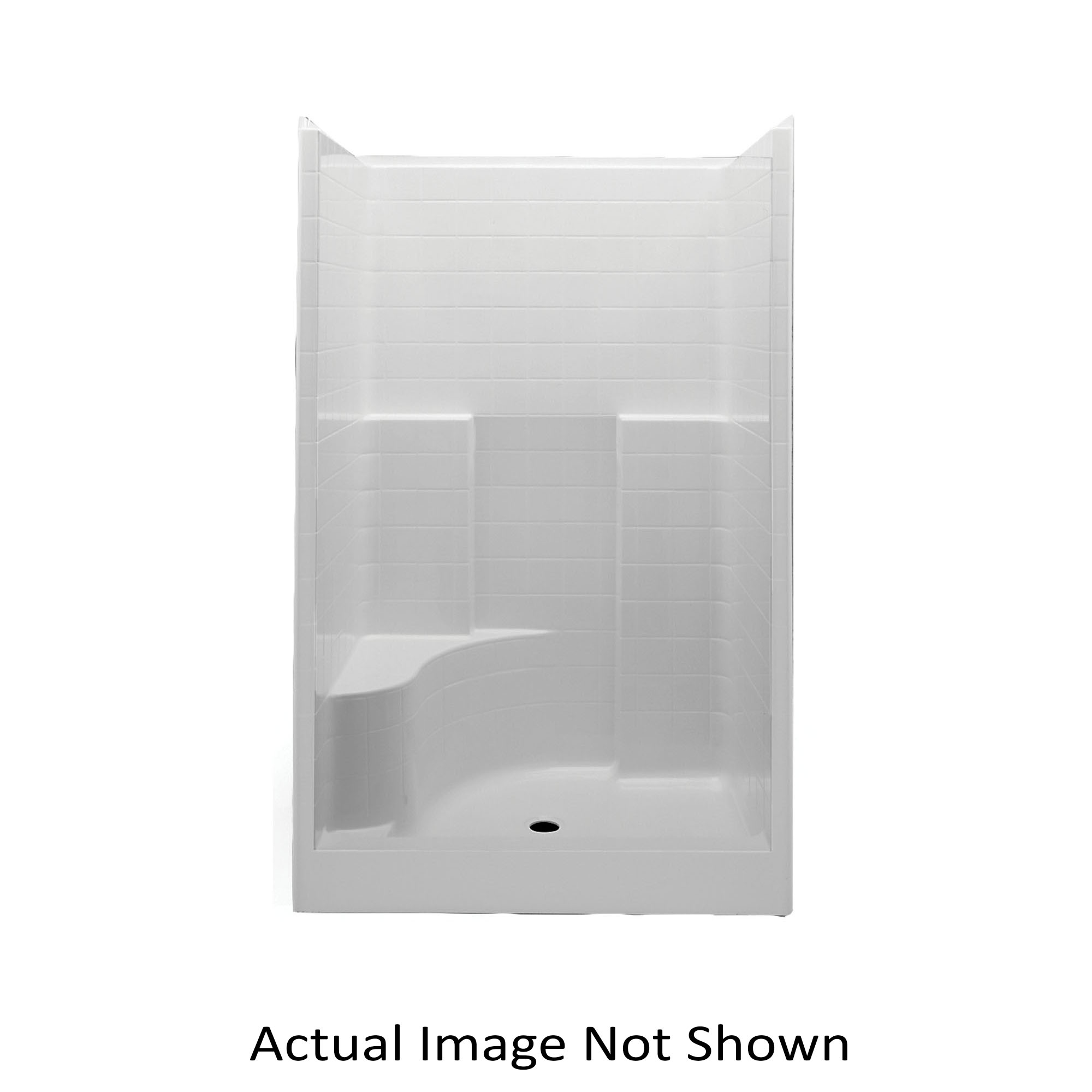 Aquatic 1483STTL-WH Everyday 1-Piece Shower Stall With Molded Left Seat, 48 in L x 34-7/8 in W x 76 in H, Gelcoat