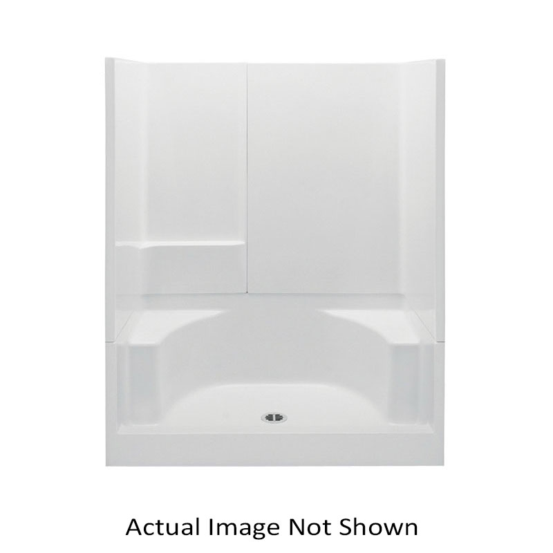 Aquatic 727149827014 16033P-WH Everyday 3-Piece Shower With (2) Integral Seats, 60 in L x 34 in W x 72 in H, Gel-Coated/White